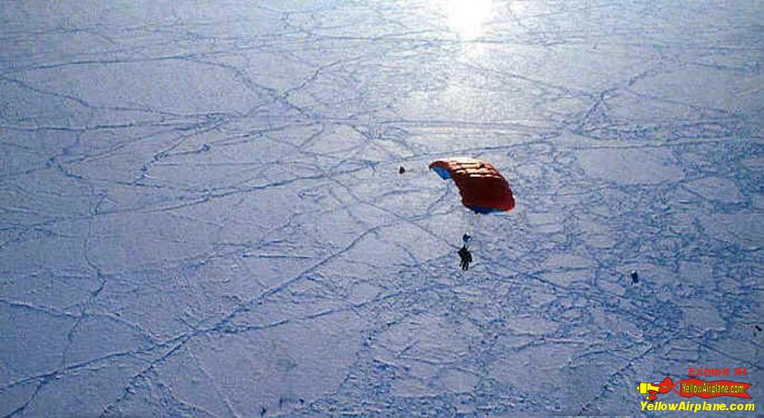 Sky Diving over beautiful Ice terrain on the North Pole