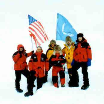 Curtis Lieber and the American team standing on the north pole 1997