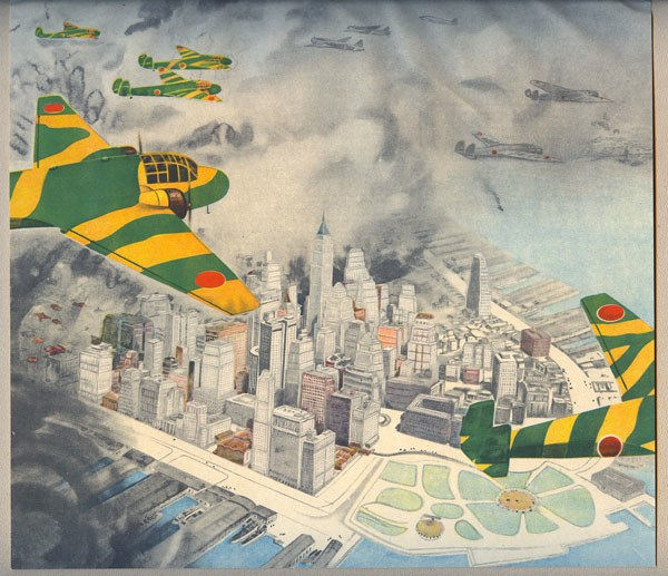 Aviation Art, Japanese Propaganda art from WW2, Bombers over New York City