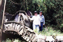 Picture of a Vought F4U Corsair Airplane in the Jungles of Guam.  This plane crashed in WW2