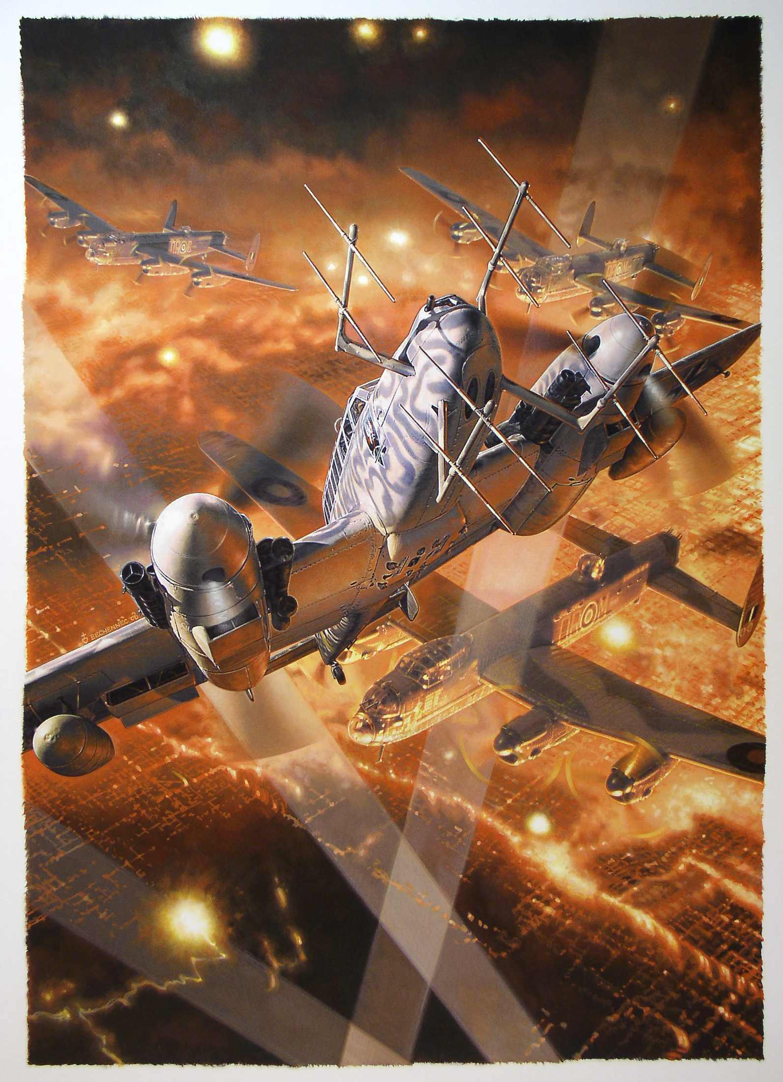 Painting of a BF-110 in combat against Lancaster Bombers