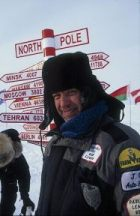 C. Jeff Dyrek, webmaster, standing on the North Pole