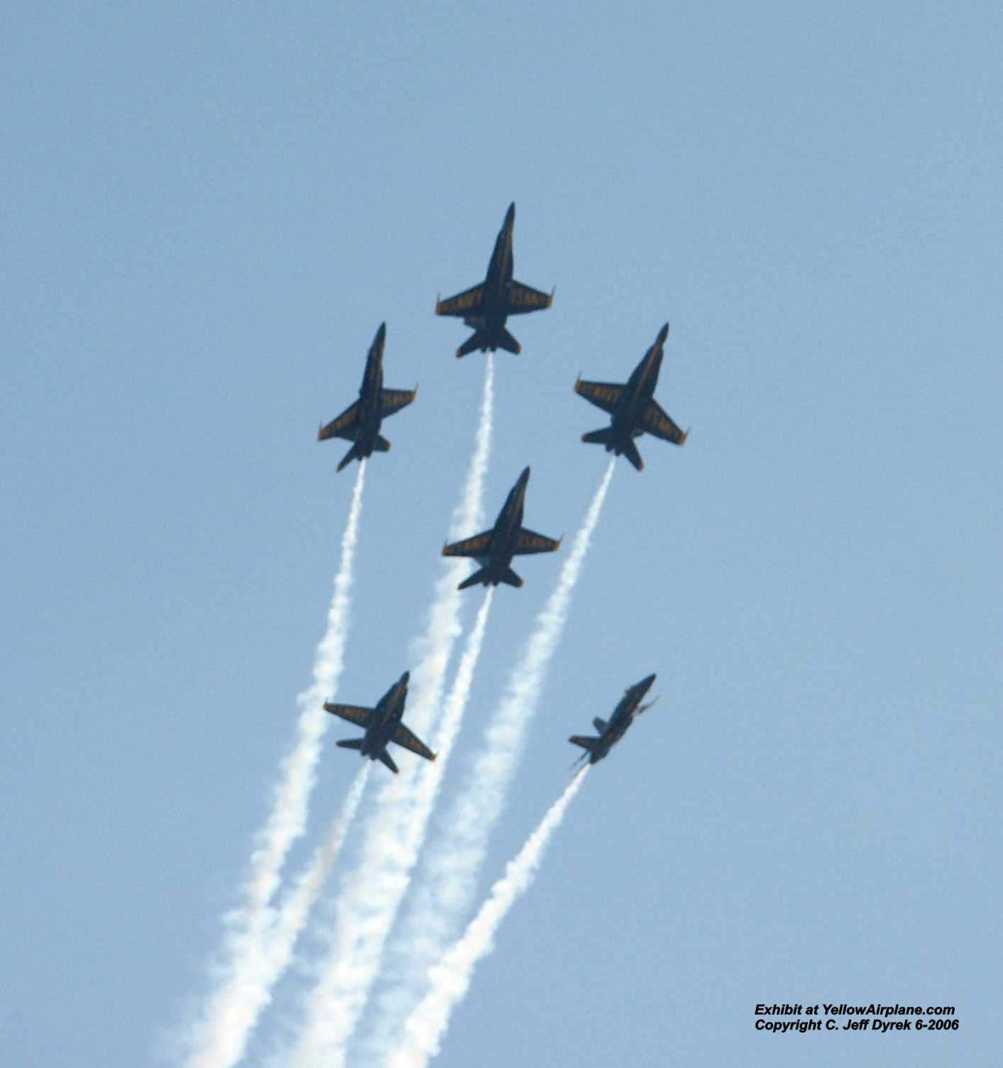 These Beautiful Blue Angel Dream Airplanes look great in this photo.